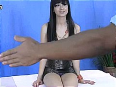 Brunette gets a massaga and a big black dick up her wet pussy