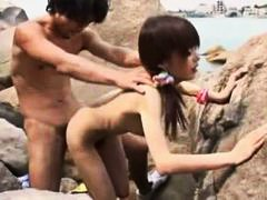 Japanese slut at the beach fucked and sucking