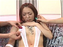 Redhead asian bitch gets her nipples and pussy over vibrated