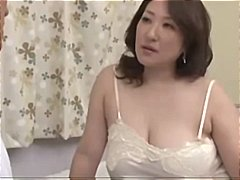 Chunky mature asian bitch licks his cock and takes it in her hairy snatch