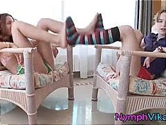 Teen lesbians vika and ivana play footsies in their pussies