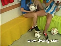College football players veronika lindnerova and heather wild in penalty time