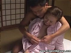 Caresting a hairy japanese pussy tits and foot