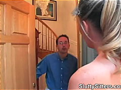Barnevakt Blond Avsugning, Suge Hardporno 1 Kvinne 2 Menn