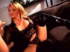 Handjob by blonde chick in sexy lingerie