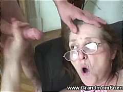 Horny granny gets facial from men