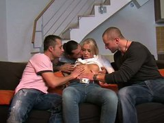Blond nice girl fucked after vodka party gangbang