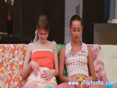 Lesbian teens in fishnet start touching and rubbing each other