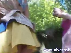 Teen girls rub cunts in the virgin forest