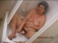 Old granny fucking toilet brush