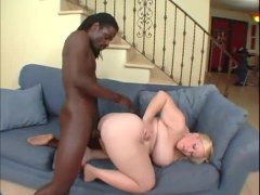 Fat shaved blonde and a black cock