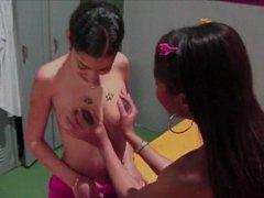 Asiàtiques Negretes Noia Lèsbic En viu