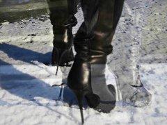 מגפיים צרפתיות עקבים בגדי עור צעירות