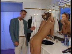 Sex with glamorous girl in bathroom is hot