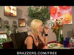 Big tit blonde pornstar in lingerie fucks big cock waiter to pay