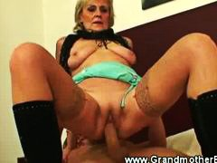 Mature slut fucked from behind by young guy