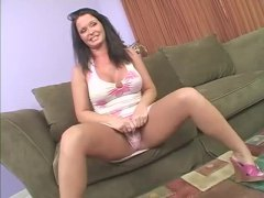 Milf in a tight dress strips and sucks his cock