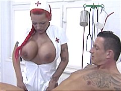 Busty german redhead nurse gives her patient head and masturbates