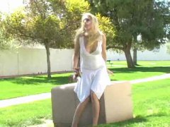Allison,amazing blonde girl masturbating outdoor!!