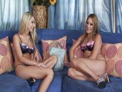 Adorable blondes testing multiple dildos
