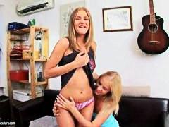 Hot teen lesbians dildoing their asses
