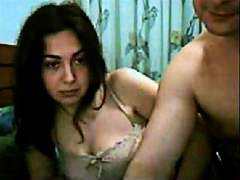 Brunette fucked by a bald guy