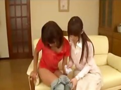 Asian girl getting her nipples sucked pussy rubbed on the couch in the sitting room