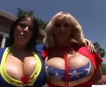 Huge boob contruction workers