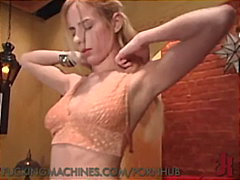 Blond newcomer primes herself, then gets finished by machine