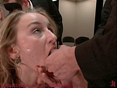 20 year old jessie cox is bound in tape, face fucked, and gang banged