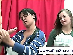 Cfnm girls horny for cum jerking cock during drawing classes