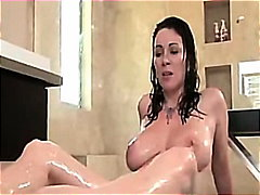 Mature mom seduces son for taboo family sex in bathroom
