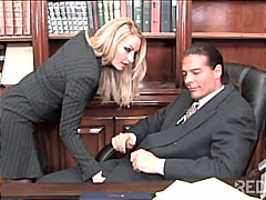 Horny blonde seduces the principal