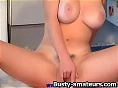 Horny blonde peaches toying act