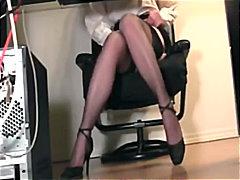 Fetiš Opätky Masturbácia Nylon Sekretárky