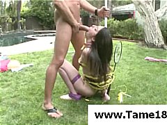 Brunette teen slave is taken outside for a hot bang and blowjob