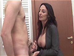 Mother enter in bathroom
