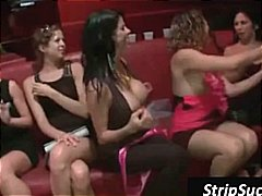 Party girls love the stripper and one horny babe eats his cock