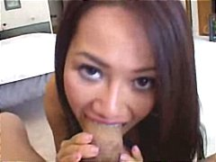 Sexy young asian babe ninna lynn gives his fat cock a pov blowjob