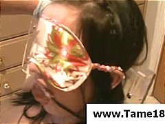 Teen gets gagged and blindfolded as he bangs her wet pussy