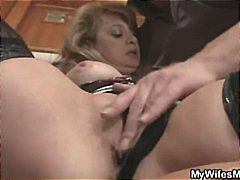 Brunette mom gets caught fucking young cock in the bathroom