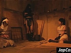 Asian slaves are tortured by their mistress in the dungeon