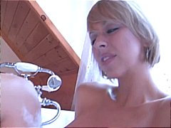 Mature blonde gets her ass licked by her submissive hubby in the bubble bath