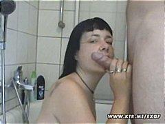 Mature amateur brunette takes bubble bath, sucks cock and gets a facial