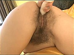 3 very hairy babes dildoing & fingering their muffs