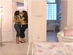 Brunettes kissing