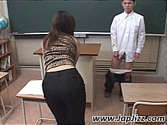 Asian teacher plays with student's cock and then fingers his ass