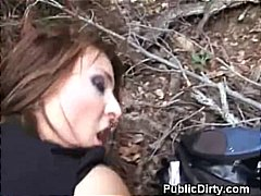 Brunette doggystyle and titty fucked outdoors in public