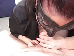 Masked chubby sucks on a hard cock for a warm cumshot in pov