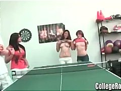 Hot young college coeds stroke and suck cock and get banged in the game room